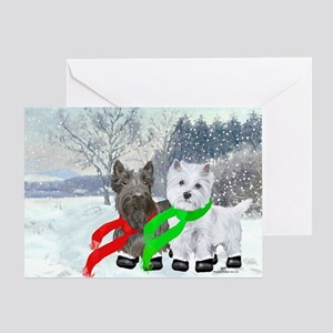 Scottie Westie Winter Greeting Card