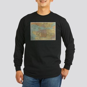 Vintage Map of Vancouver Canad Long Sleeve T-Shirt