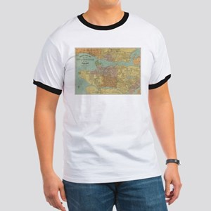 Vintage Map of Vancouver Canada (1920) T-Shirt