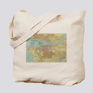 Vintage Map of Vancouver Canada (1920) Tote Bag
