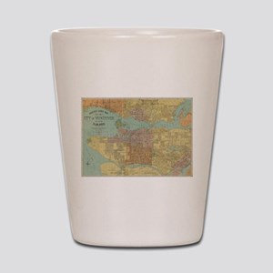Vintage Map of Vancouver Canada (1920) Shot Glass