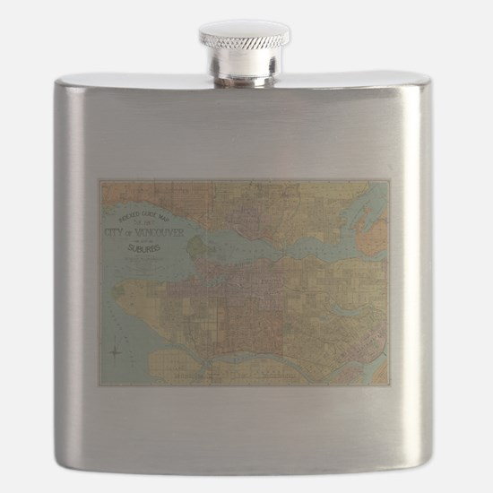 Vintage Map of Vancouver Canada (1920) Flask