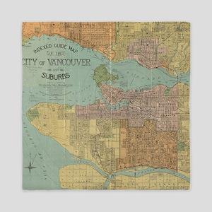 Vintage Map of Vancouver Canada (1920) Queen Duvet