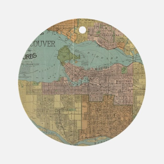Vintage Map of Vancouver Canada (19 Round Ornament