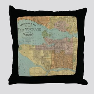 Vintage Map of Vancouver Canada (1920 Throw Pillow