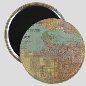 Vintage Map of Vancouver Canada (1920) Magnets