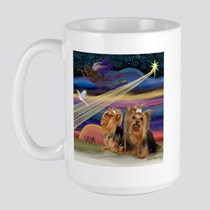 Christmas Star & Yorkie Pair Large Mug