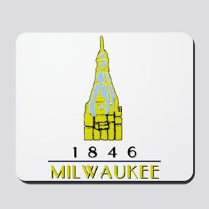 Milwaukee City Hall Logo- white Mousepad