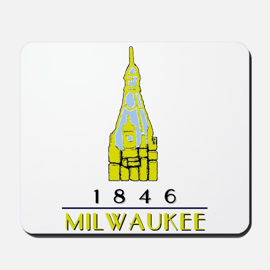 Milwaukee City Hall Logo- white Mousepad