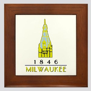Milwaukee City Hall Logo- white Framed Tile