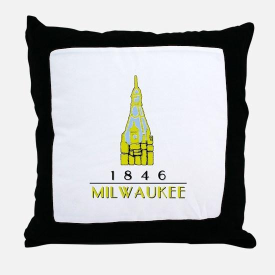 Milwaukee City Hall Logo- white Throw Pillow