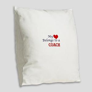My heart belongs to a Coach Burlap Throw Pillow