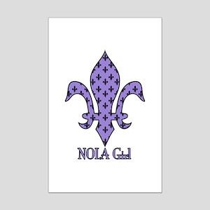 NOLA Girl Fleur de lis (purple) Mini Poster Print