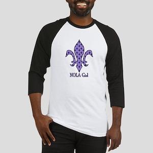 NOLA Girl Fleur de lis (purple) Baseball Jersey