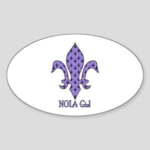 NOLA Girl Fleur de lis (purple) Oval Sticker