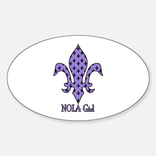 NOLA Girl Fleur de lis (purple) Oval Decal