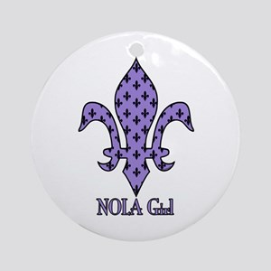 NOLA Girl Fleur de lis (purple) Ornament (Round)