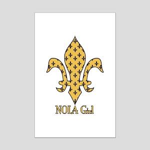 NOLA Girl Fleur de lis (gold) Mini Poster Print