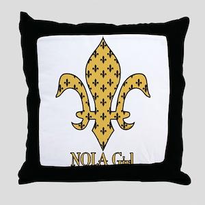 NOLA Girl Fleur de lis (gold) Throw Pillow
