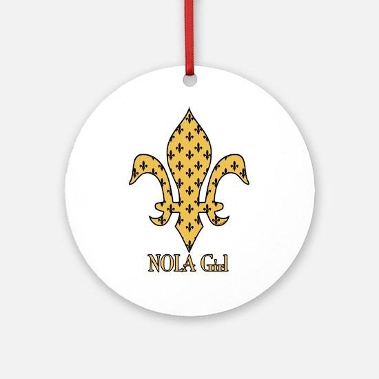 NOLA Girl Fleur de lis (gold) Ornament (Round)