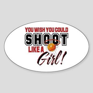 Basketball - Shoot Like a Girl Sticker (Oval)