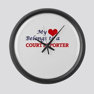 My heart belongs to a Court Repor Large Wall Clock