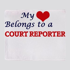 My heart belongs to a Court Reporter Throw Blanket