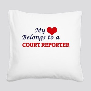 My heart belongs to a Court R Square Canvas Pillow