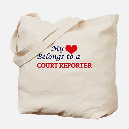 My heart belongs to a Court Reporter Tote Bag