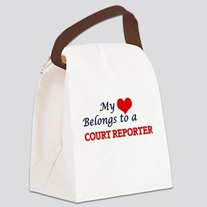 My heart belongs to a Court Repor Canvas Lunch Bag