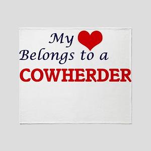 My heart belongs to a Cowherder Throw Blanket