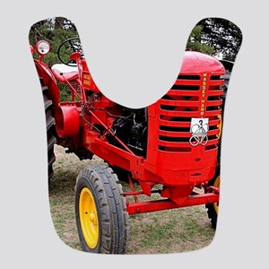 Old red tractor Polyester Baby Bib