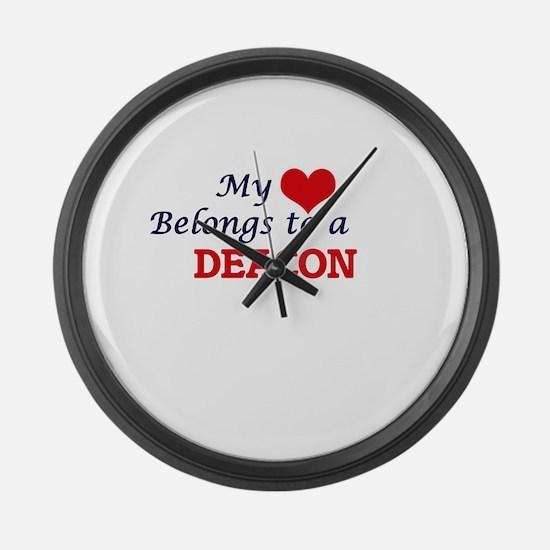 My heart belongs to a Deacon Large Wall Clock