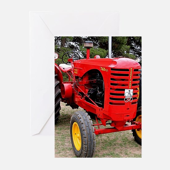 Old red tractor Greeting Cards