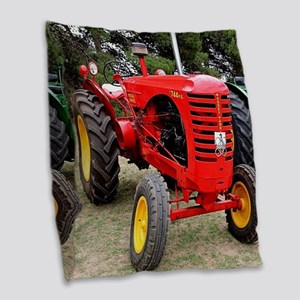 Old red tractor Burlap Throw Pillow