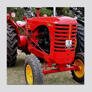Old red tractor Tile Coaster