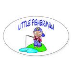 Little Fisherman Oval Sticker