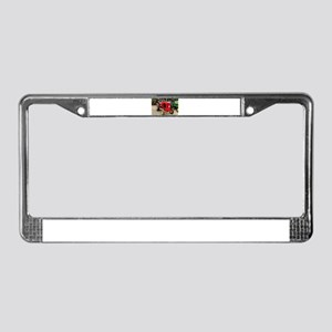 Old red tractor License Plate Frame