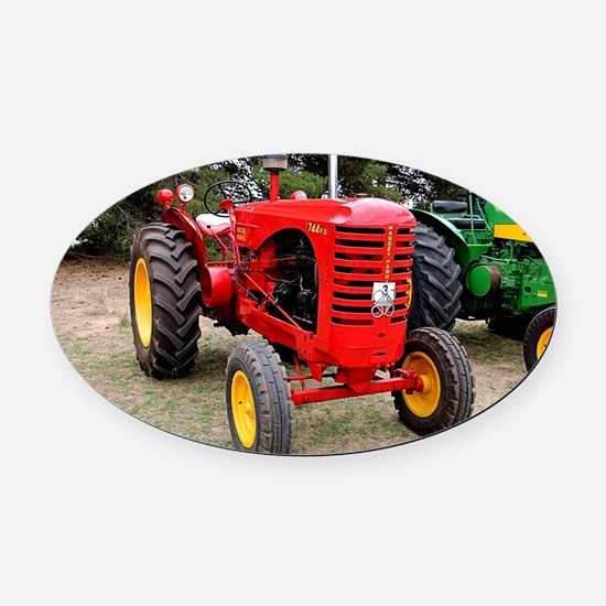 Old red tractor Oval Car Magnet