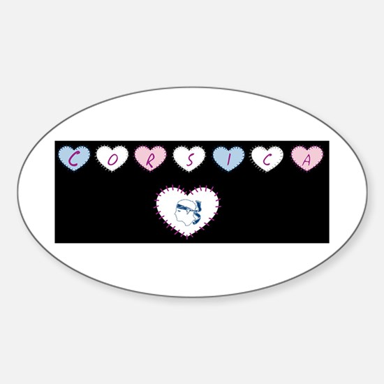 heart corsica1 Oval Decal