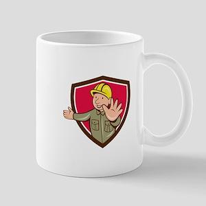 Builder Hand Stop Signal Crest Cartoon Mugs