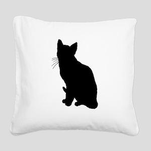 Black Cat Square Canvas Pillow