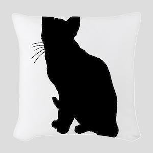 Black Cat Woven Throw Pillow