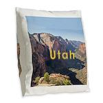 Utah Burlap Throw Pillow
