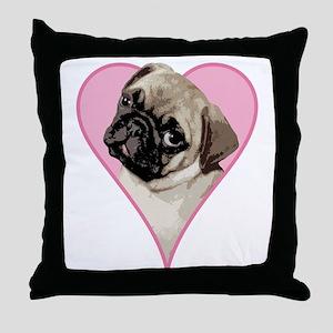 Heart Pug - Throw Pillow