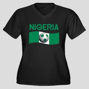 TEAM NIGERIA Women's Plus Size V-Neck Dark T-Shirt