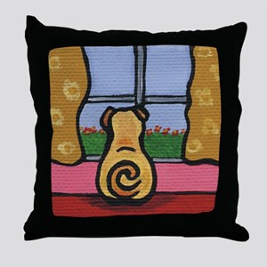 Pug at the Window Throw Pillow