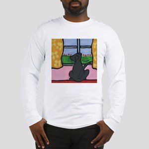 Black Lab at Window Long Sleeve T-Shirt