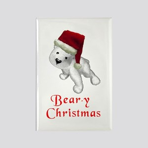 Polar bear-y Christmas Rectangle Magnet