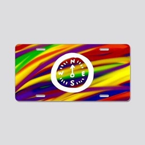 Gay rainbow compass art Aluminum License Plate